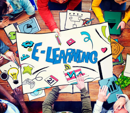 place to learn: E-learning Education Global Communication Technology Concept