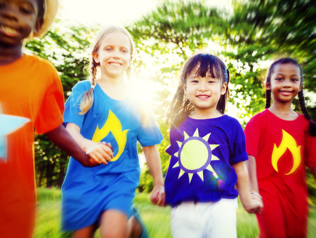 heros: Friends Friendship Childhood Happiness Unity Concept
