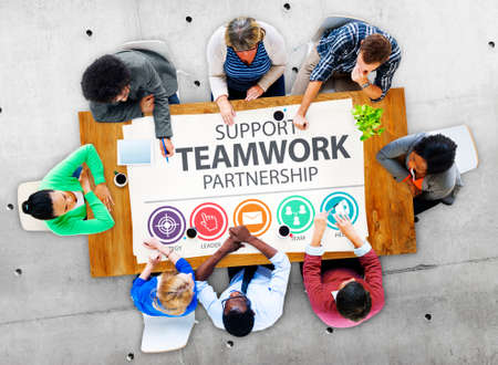 place to learn: Support Teamwork Partnership Group Collaboration Concept Stock Photo
