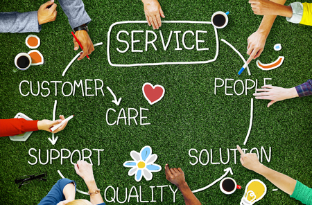 Customer Satisfaction Service Hospitality Support Concept 스톡 콘텐츠