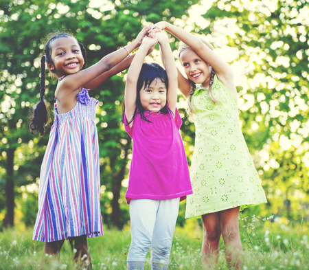 Children Playing Girls Togetherness Happiness Leisure Concept