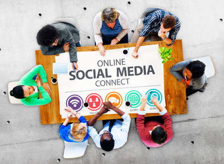 place to learn: Online Social Media Connect Network Internet Concept Stock Photo