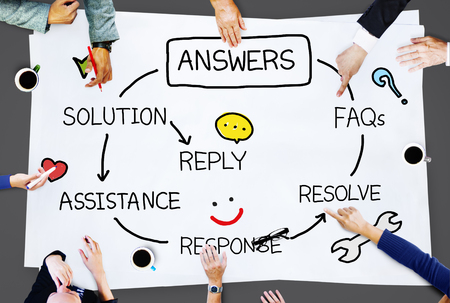 the solution: Answers Solution Response Question Solving Concept Stock Photo