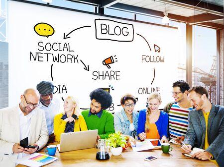 Bloggen Bloggen Comunication verbinding gegevens Sociale Concept Stockfoto