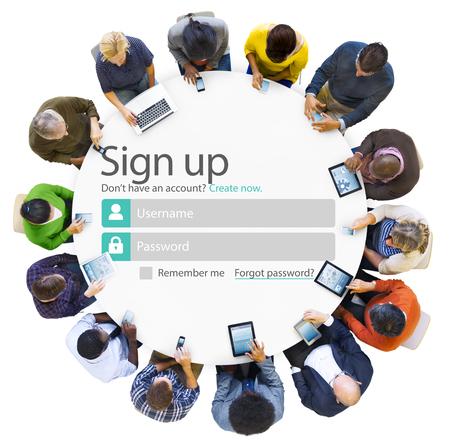 Registreren Registreer online internet webconcept