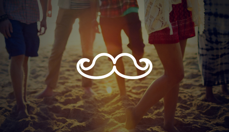 old fashion: Mustache Retro Old Fashion Style Curly Concept