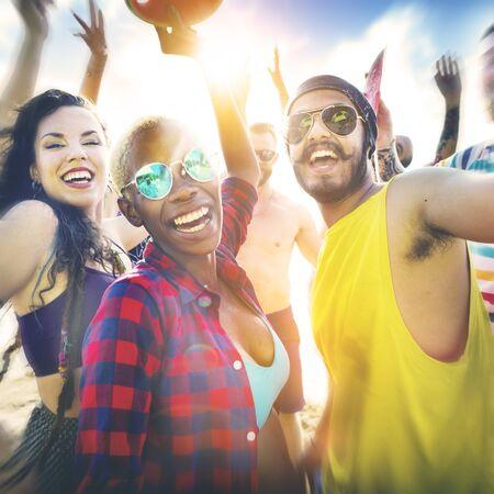 man on beach: Friends Summer Beach Party Festival Concept