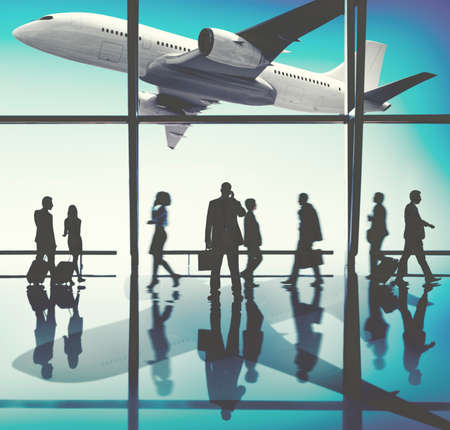 airport window: Group Business People Corporate Travel Trip Concept