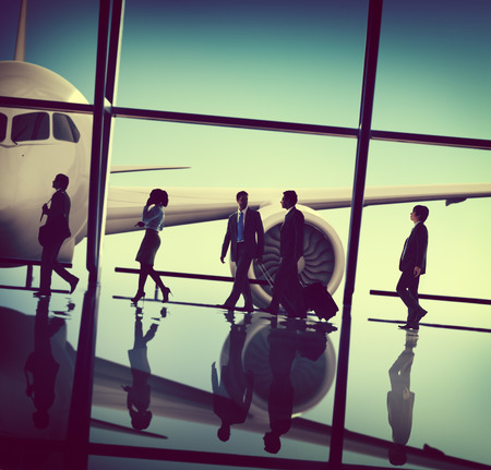 talking phone: Business People Traveling Airplane Airport Concept Stock Photo