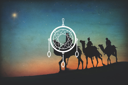 camel silhouette: Dreamcatcher Artwork Culture Traditional Indian Concept