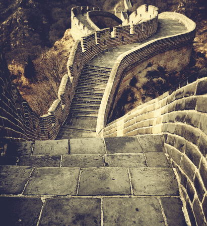 ancient great wall: Great Wall of China Historical Cultural Concept Stock Photo