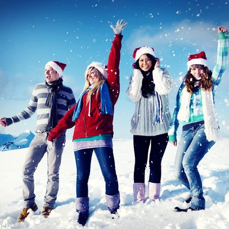 enjoyment: Friends Enjoyment Winter Holiday Christmas Concept