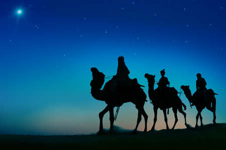 Three Wise Men Camel Travel Desert Bethlehem Concept Фото со стока