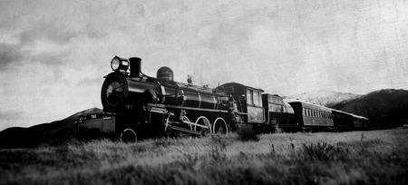 steam train: Steam Train In A Open Countryside Natural Scene Concept