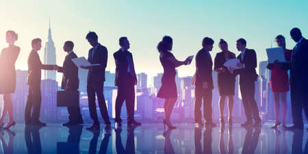 corporate business: Business People New York Outdoor Meeting Silhouette Concept