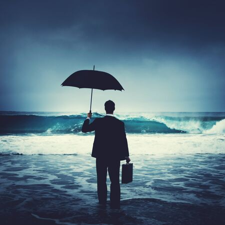 lonely: Lonely Businessman Alone Anxiety Beach Concept
