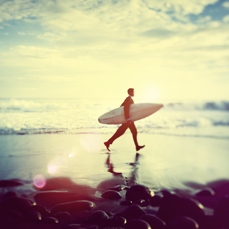 lone: Lone Businessman by the Beach with Surfboard