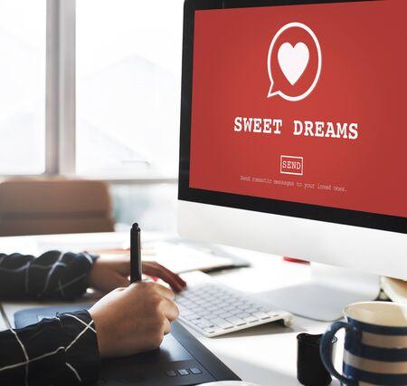 sweet dreams: Sweet Dreams Valantine Romance Heart Love Passion Concept Stock Photo