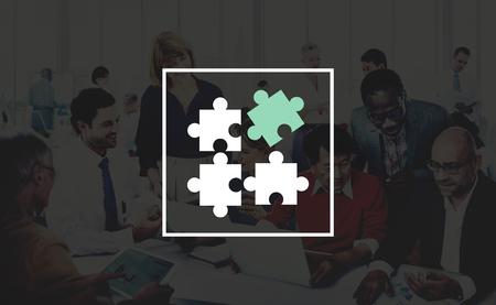 asian man laptop: Jigsaw Puzzle Partnership Teamwork Team Concept