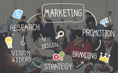 estrategia: Estrategia de Marketing Información de visión del concepto de destino Foto de archivo