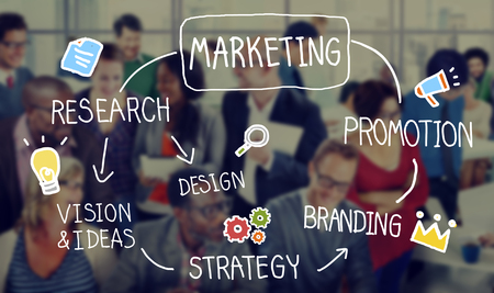 business marketing: Marketing Strategy Business Information Vision Target Concept Stock Photo