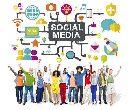 social system: Social Media Social Networking Connection Global Concept Stock Photo