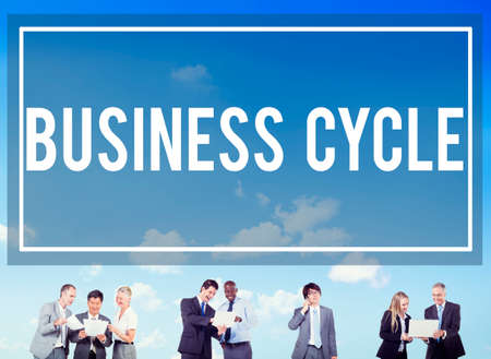 financial cycle: Business Cycle Income Profit Loss Recession Concept Stock Photo