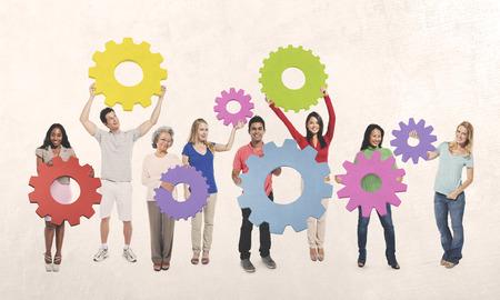 engranes: Las personas Cog Engranajes teamwork unidad unión concepto