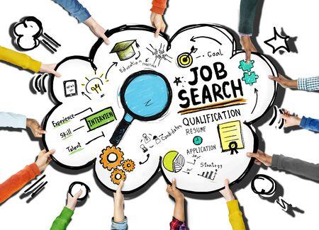 Concepto etnia Manos Exploding Job aplicación de búsqueda