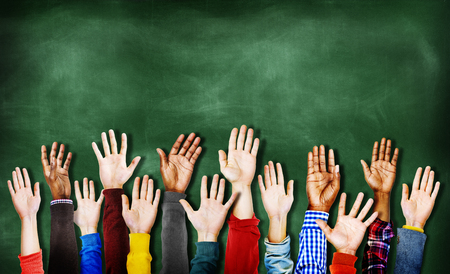 Hands Raised Togetherness Diversity People Concept