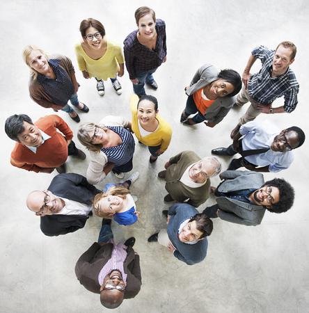 Diverse Bonheur Amitié Ensemble Vue aérienne Concept Banque d'images