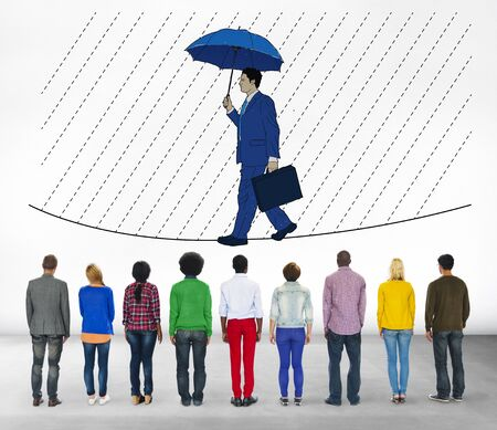 people looking up: Risk Management Protection Opportunity Planning Concept