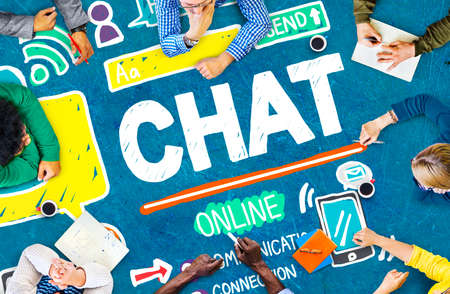 mobile communication: Chat Chatting Communication Social Media Internet Concept Stock Photo