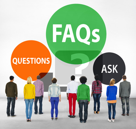 facing backwards: FAQs Frequently Asked Questions Solution Concept Stock Photo