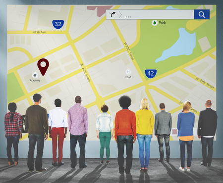 Map Mapping Location Guideline Navigation Concept Stock Photo