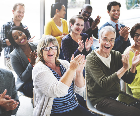 happy group: Audience Applaud Clapping Happines Appreciation Training Concept Stock Photo