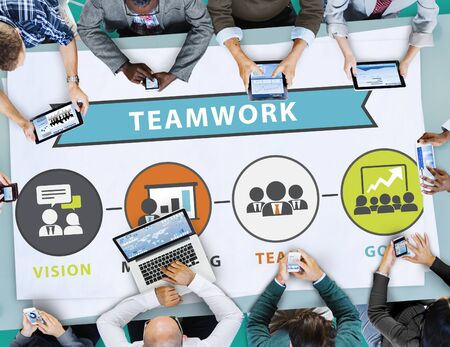 place of work: Teamwork Team Collaboration Connection Togetherness Unity Concept