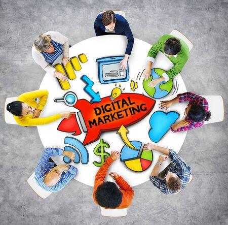 asian business group: People Teamwork Digital Marketing Advertisement Technology Internet Concept Stock Photo