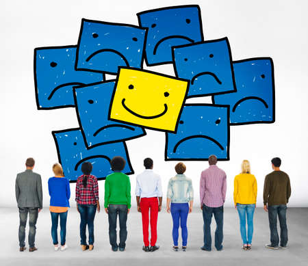 people looking up: Smiley Outstanding Positive Happiness Contrast Concept