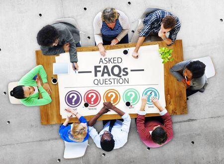 Veel gestelde vragen FAQ Problemen Concept