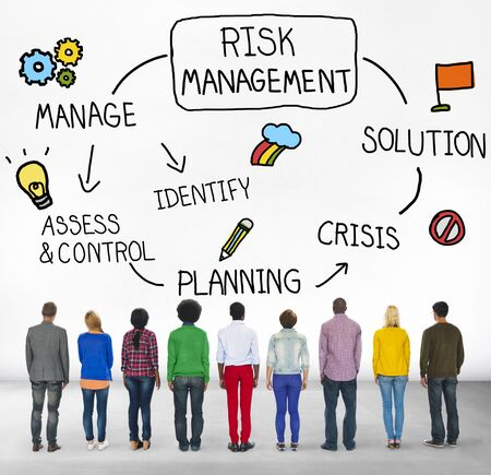 facing backwards: Risk Management Solution Crisis Identity Planning Concept Stock Photo