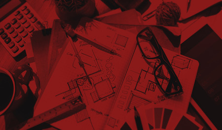 messy: Messy Designers Table with Sketch and Tools