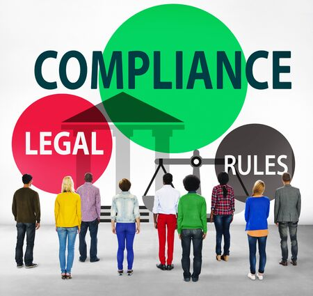 facing backwards: Compliance Legal Rule Compliancy Conformity Concept Stock Photo