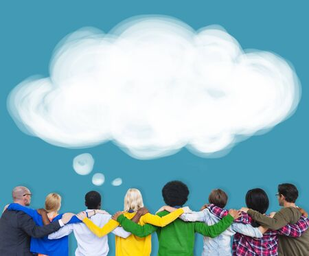 facing backwards: Thought Bubble Thinking Ideas Imagination Concept Stock Photo
