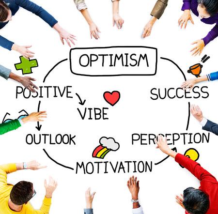 optimism: Optimism Positive Outlook Vibe Perception Vision Concept Stock Photo