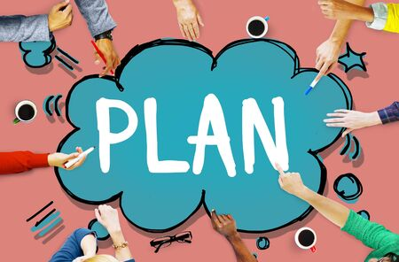 group plan: Plan Vision Planning Thinking Strategy Concept Stock Photo