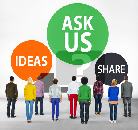 facing backwards: Ask us Customer Service Guidance Ideas Share Concept