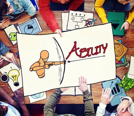 office team: Ability Talent Strength Archery Aim Concept