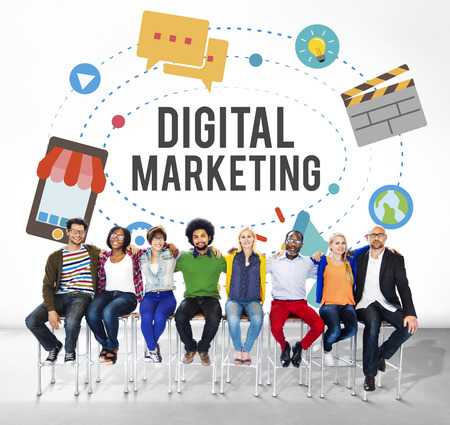 People sitting with the word DIGITAL MARKETING