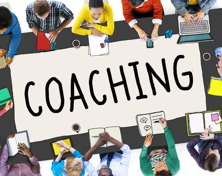 Concepto de Coaching Entrenamiento Mentor Docente Entrenador Foto de archivo
